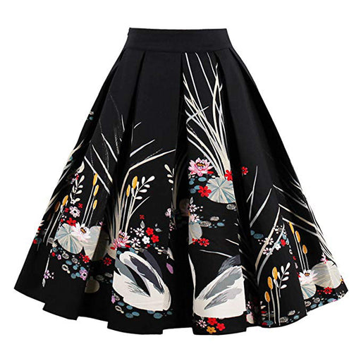 Retro Vintage 1950s Floral Pleated bust skirt