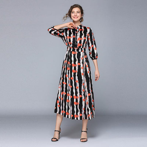 Vintage Retro Mother Of The Bride Dresses -Stripe wave point printing swing