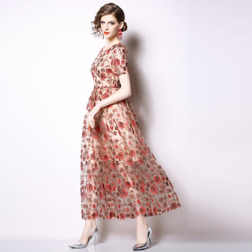Vintage Retro Mother Of The Bride Dresses -Fashion heavy embroidery lace dress