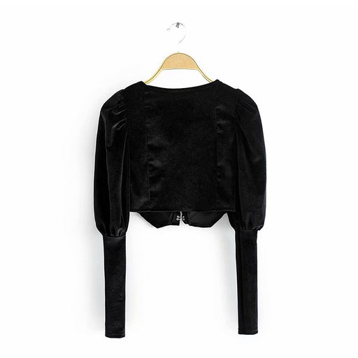 Retro 1960s Vintage Romantic  Black slim velvet puff sleeve short shirt