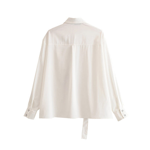 Retro 1960s Vintage Romantic  Personalized white shirt college wind collar loose shirt