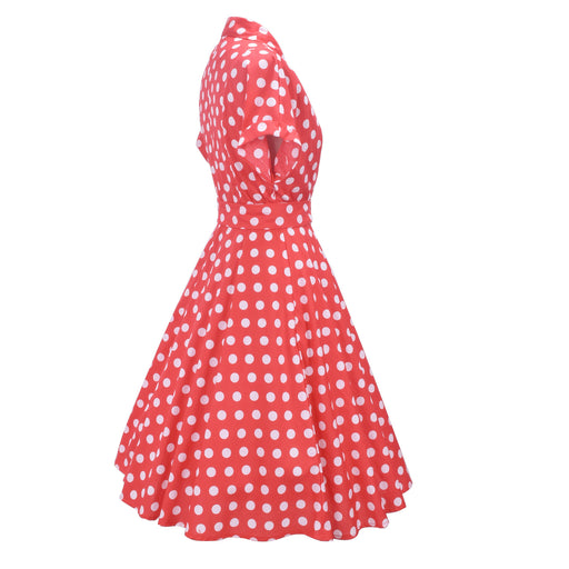 Retro Vintage 1950s Red polka dot lace-up dress
