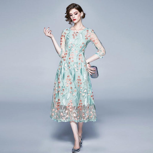 Vintage Retro Mother Of The Groom Dress - High fashion mesh lace embroidery