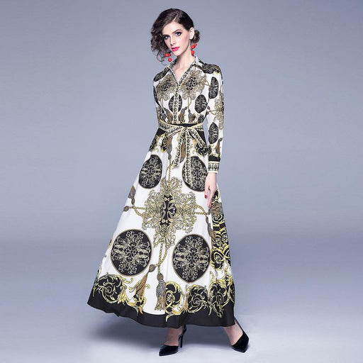 Vintage Retro Mother Of The Bride Dresses - V-neck court retro printing with long sleeves