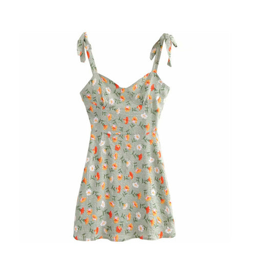 1970S French Vintage Retro  Sleeveless print bow dress