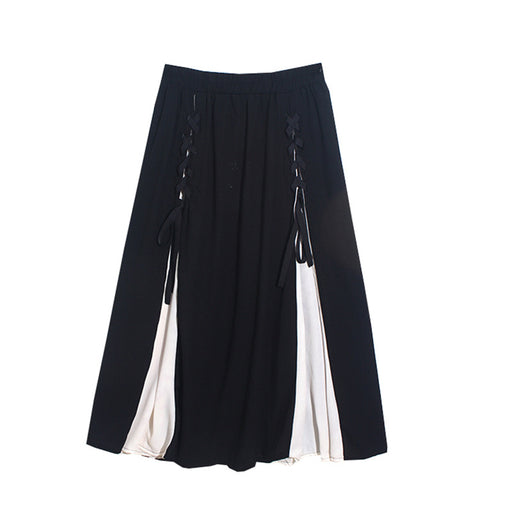 Retro 1960s Vintage Romantic  Black and white color matching bandage mid-length waist A-line skirt