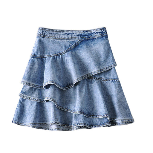 Retro 1960s Vintage Romantic  Loose irregular skirt ruffled A-line short denim skirt