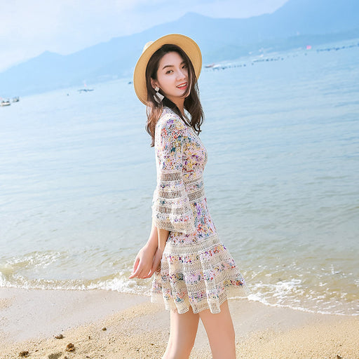 Lace stitching floral openwork sexy V-neck flared sleeve dress