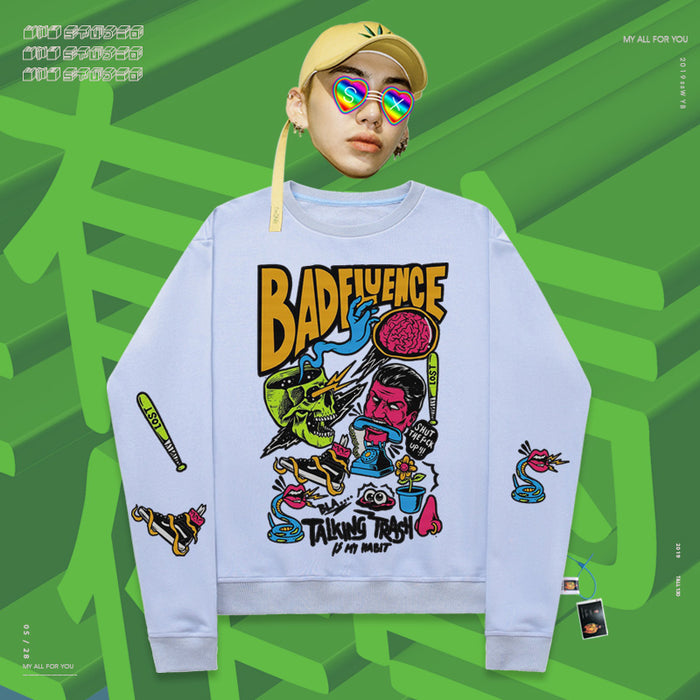 Retro Hand-drawn graffiti cartoon characters 90s sweatshirt