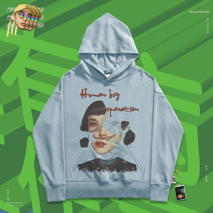 Retro High street mourning girls 90s old school BF hoodie