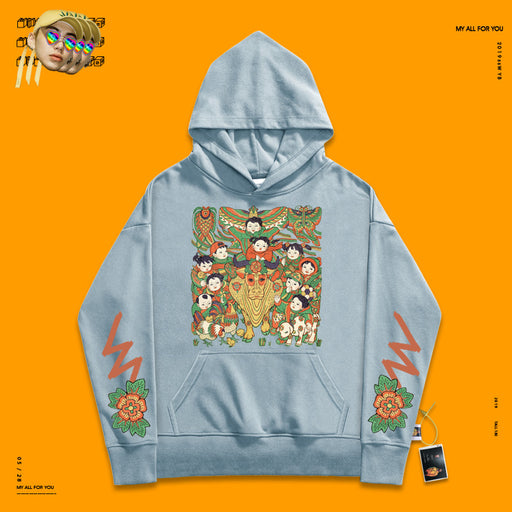 Retro Creative nostalgia soft milk blue tide fan 90s hoodie