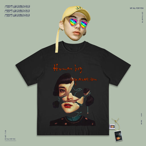 Retro T-shirt Vaporwave 90s Hip Hop Street Missing girl