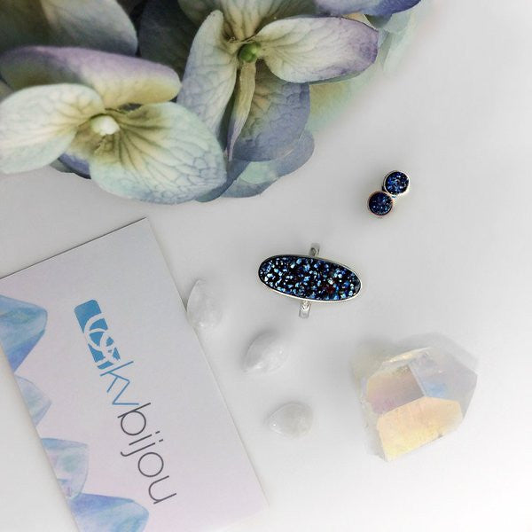Druzy Studs | Silver | Midnight Blue