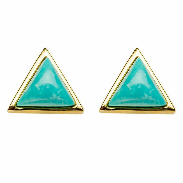 Tiny Triangle Studs | Turquoise