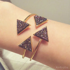 Triangle Cuff | Gold | Rainbow Druzy