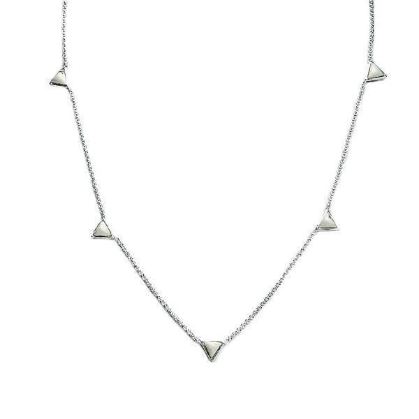 Tiny Triangle | Silver | White Necklace