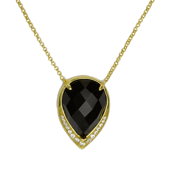Ava Large Teardrop | Black | Gold
