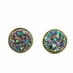 Druzy Studs | Gold | Purple Rainbow