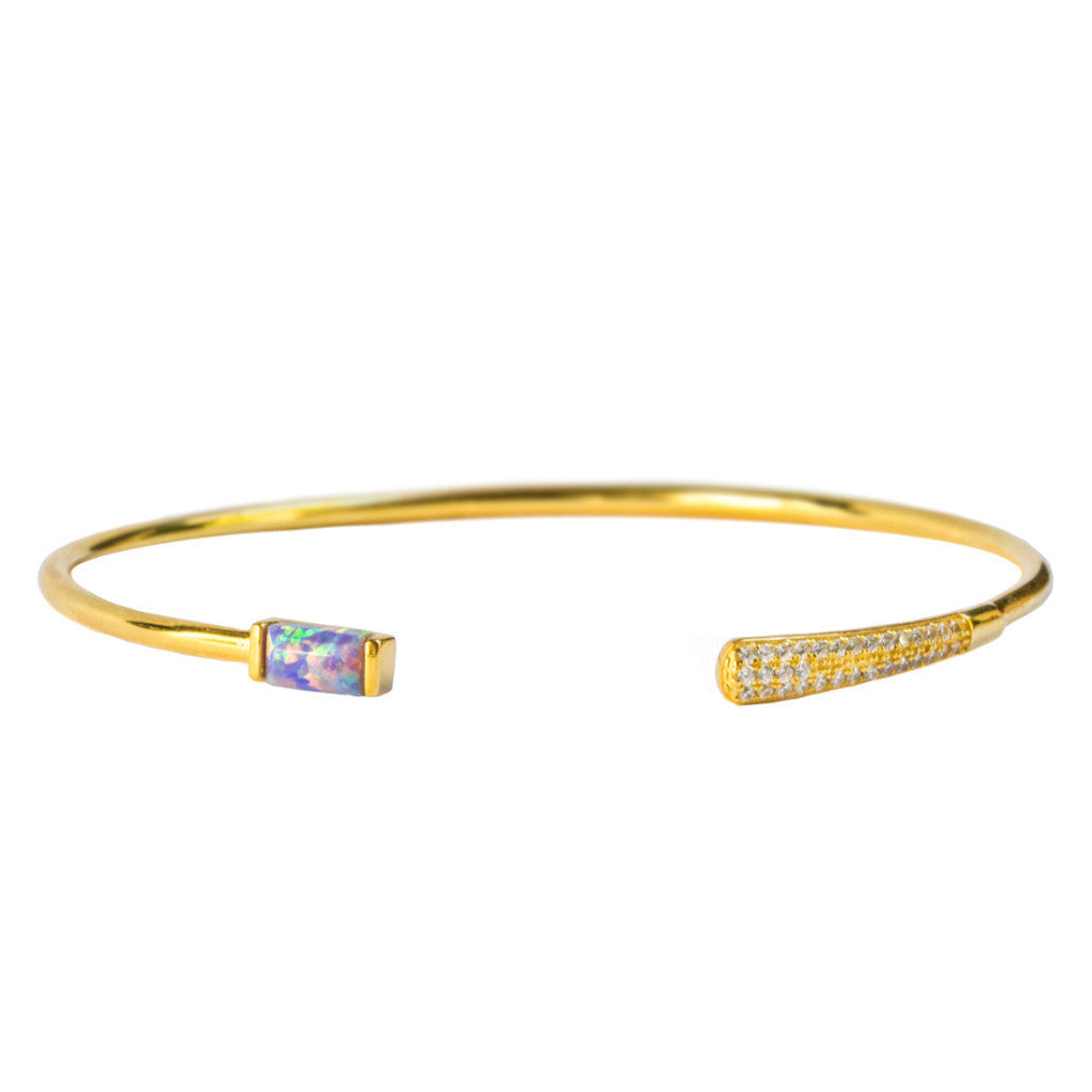 Baguette Cuff | Purple Opal | Gold