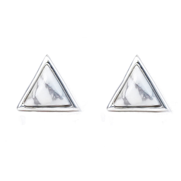Tiny Triangle Studs | White Howlite