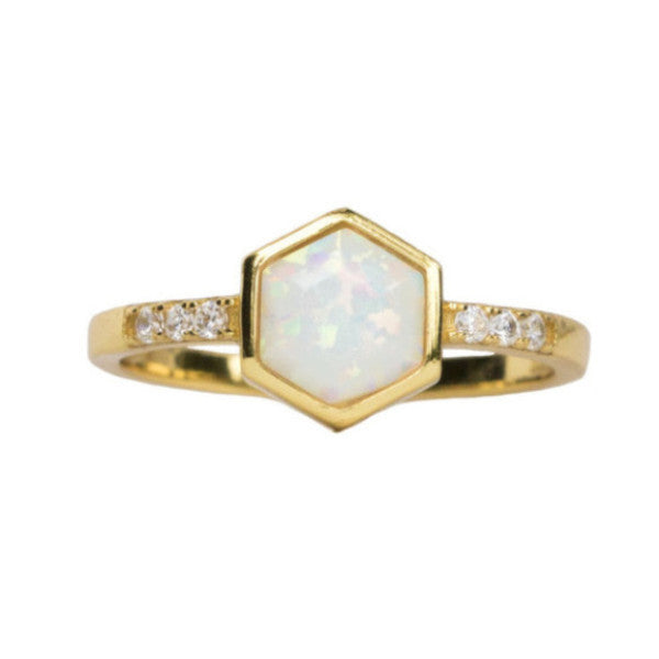 Hexagon | Opal | Gold