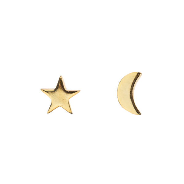 Moon & Star Studs | Gold