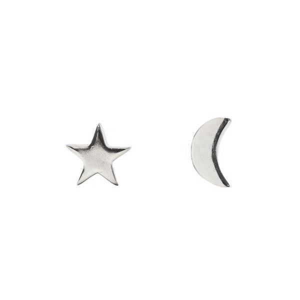 Moon & Star Studs | Silver