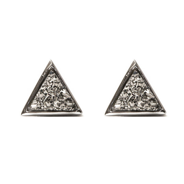 Tiny Triangle Studs | Metallic Druzy