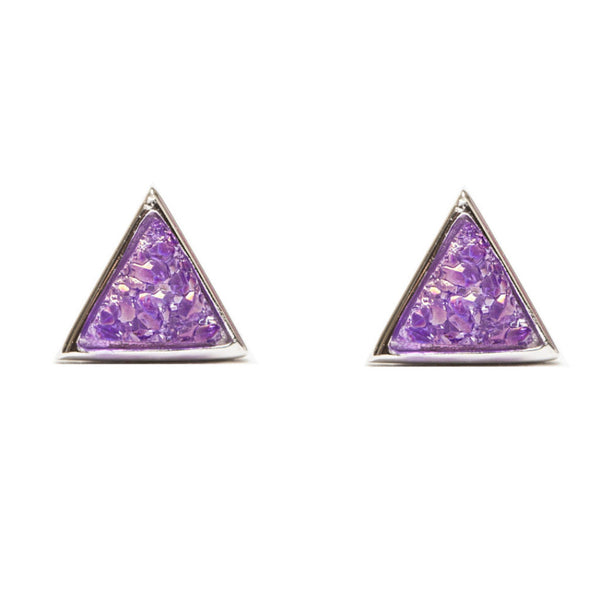 Tiny Triangle Studs | Purple Druzy