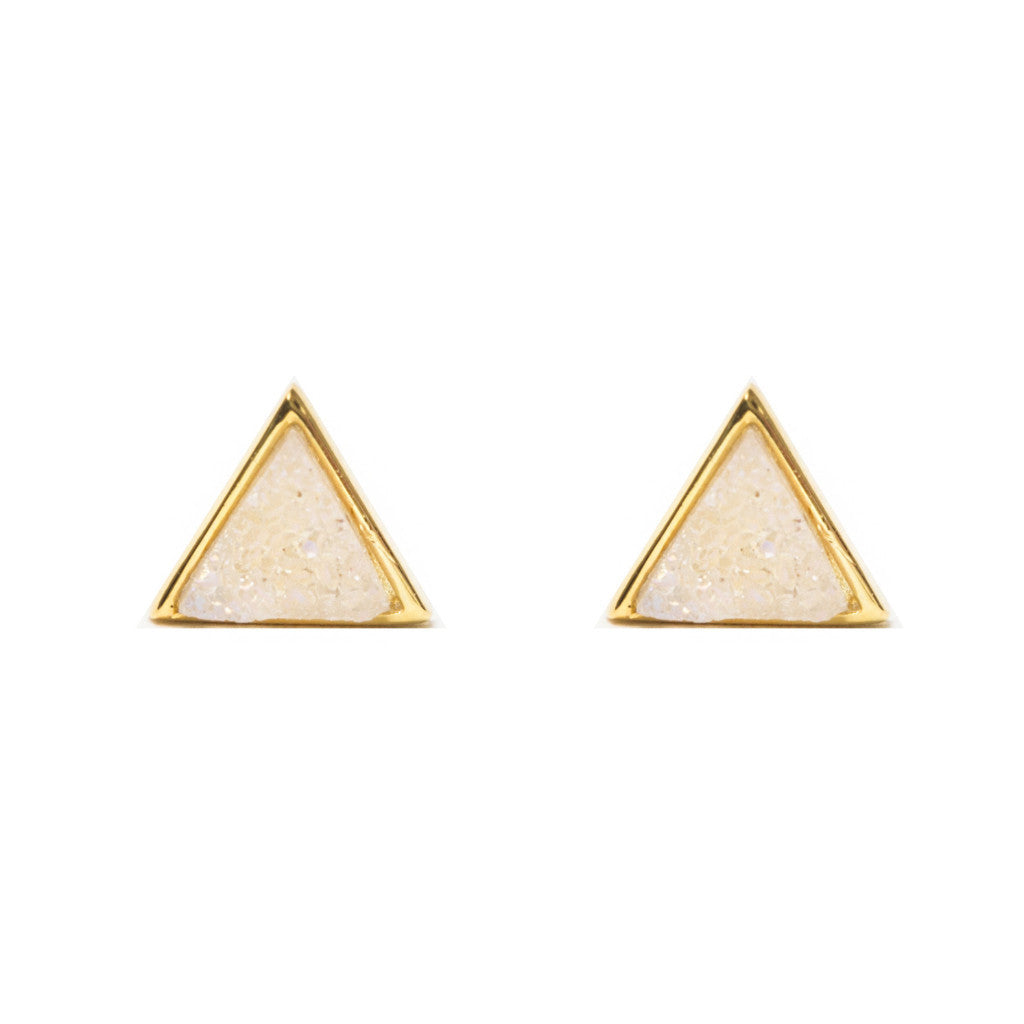 Tiny Triangle Studs | Aura Druzy | Gold