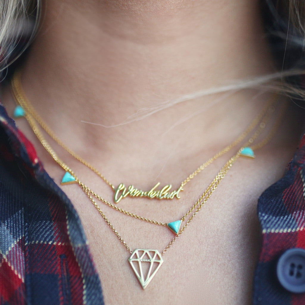 Tiny Triangle | Gold | Turquoise