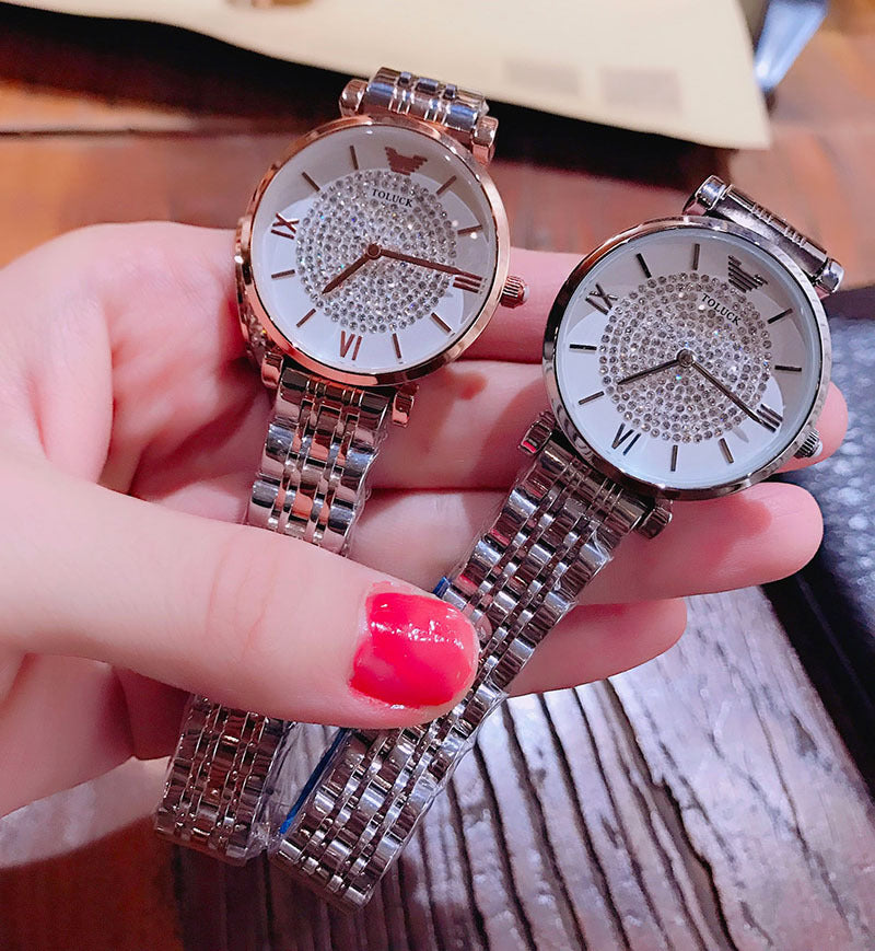 Rose gold steel belt fashion trend waterproof diamond diamond star watch