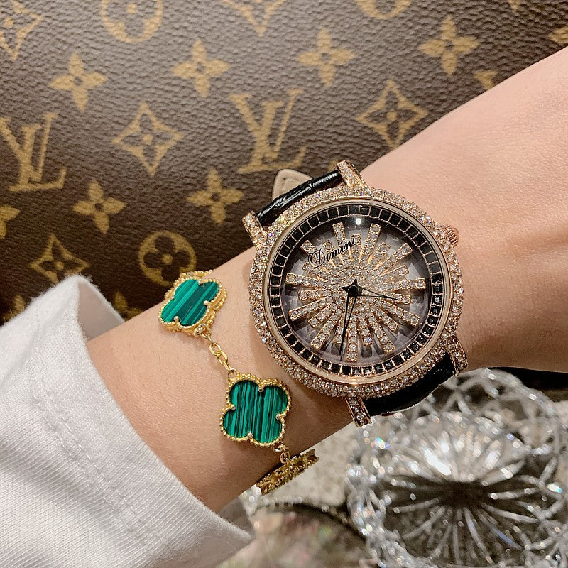 Minimalist rotating diamond ladies watch trend personality fashion leather strap