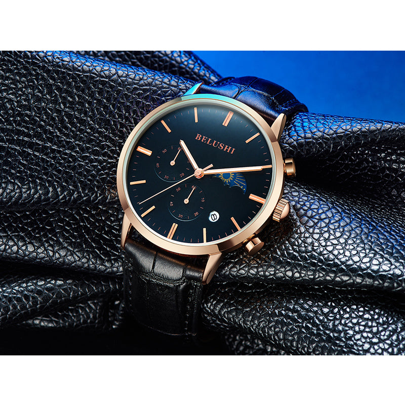 sports waterproof multifunctional quartz men's student leather watch