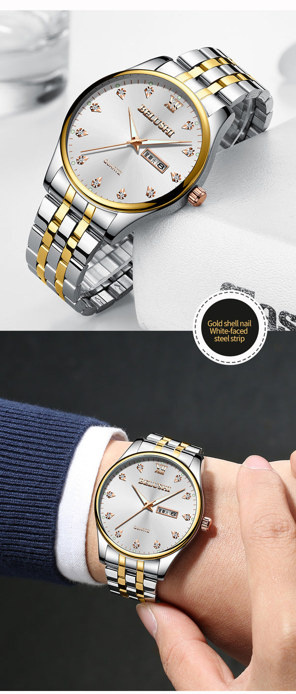 Double calendar business waterproof luminous diamond inlaid men's Watch