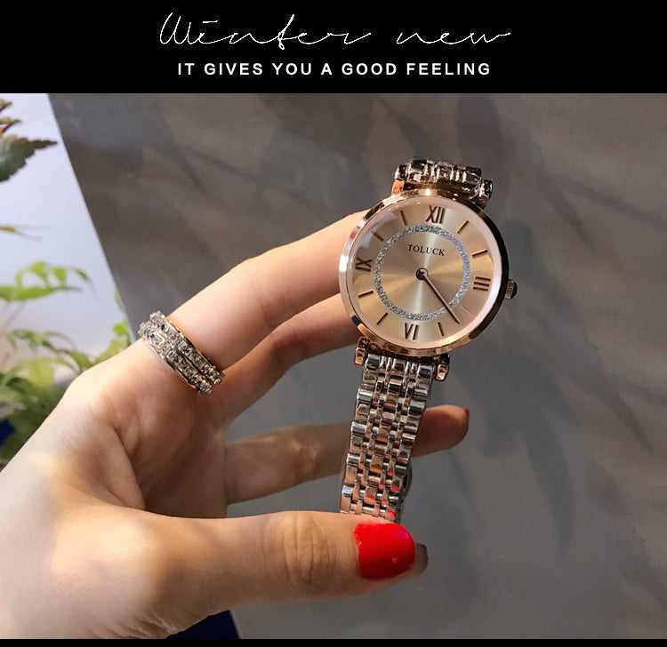 2020 new ladies watch female simple atmosphere ultra-thin watch fashion trend steel belt waterproof quartz watch