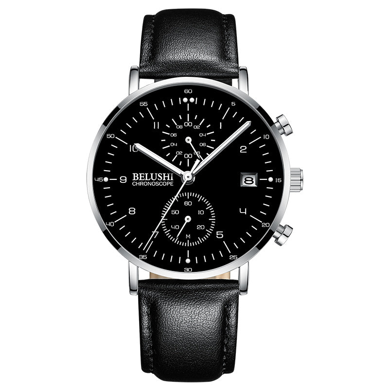 minimalist luminous calendar waterproof quartz men's Watch