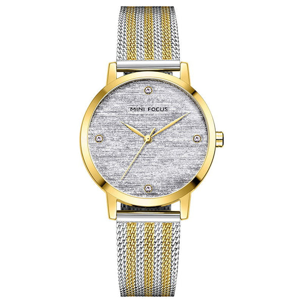 steel mesh belt women's Retro minimalist flawless diamond watch