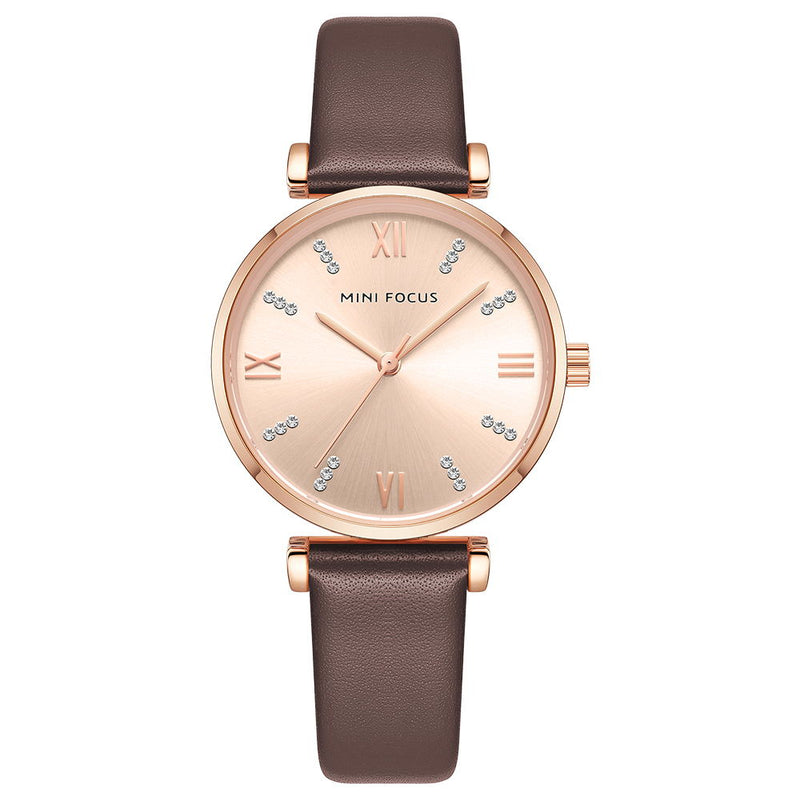 Fashion student leather strap diamond quartz lazy minimalist Watch