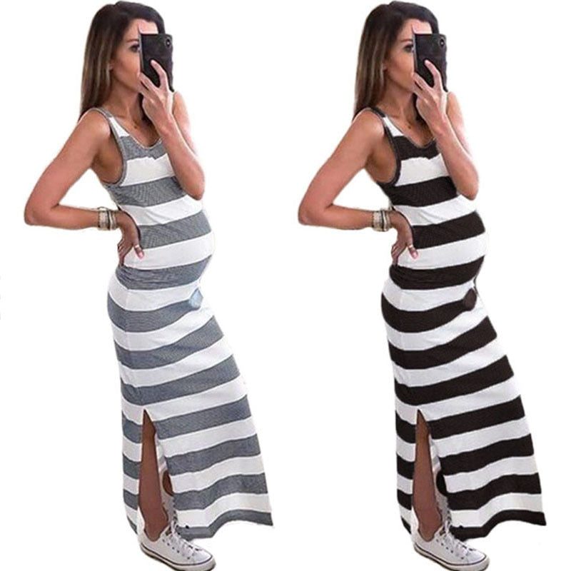 Summer Maternity Dress Pregnancy Dress Sleeveless Women Pregnants Maternity Clothes Sleeveless Striped Strap Dresses Comfortable