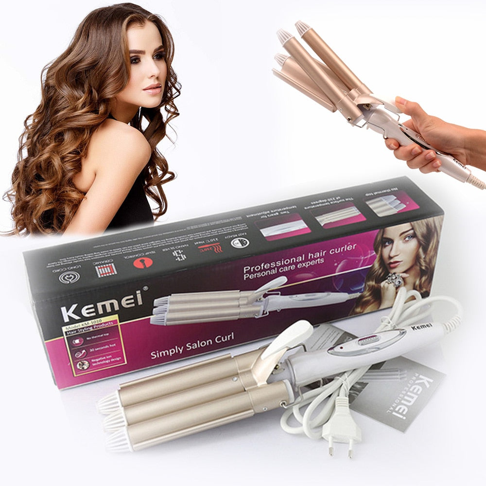 Kemei Curling hair curler Professional hair care & styling tools Wave Hair styler curling irons Hair crimper krultang iron   5