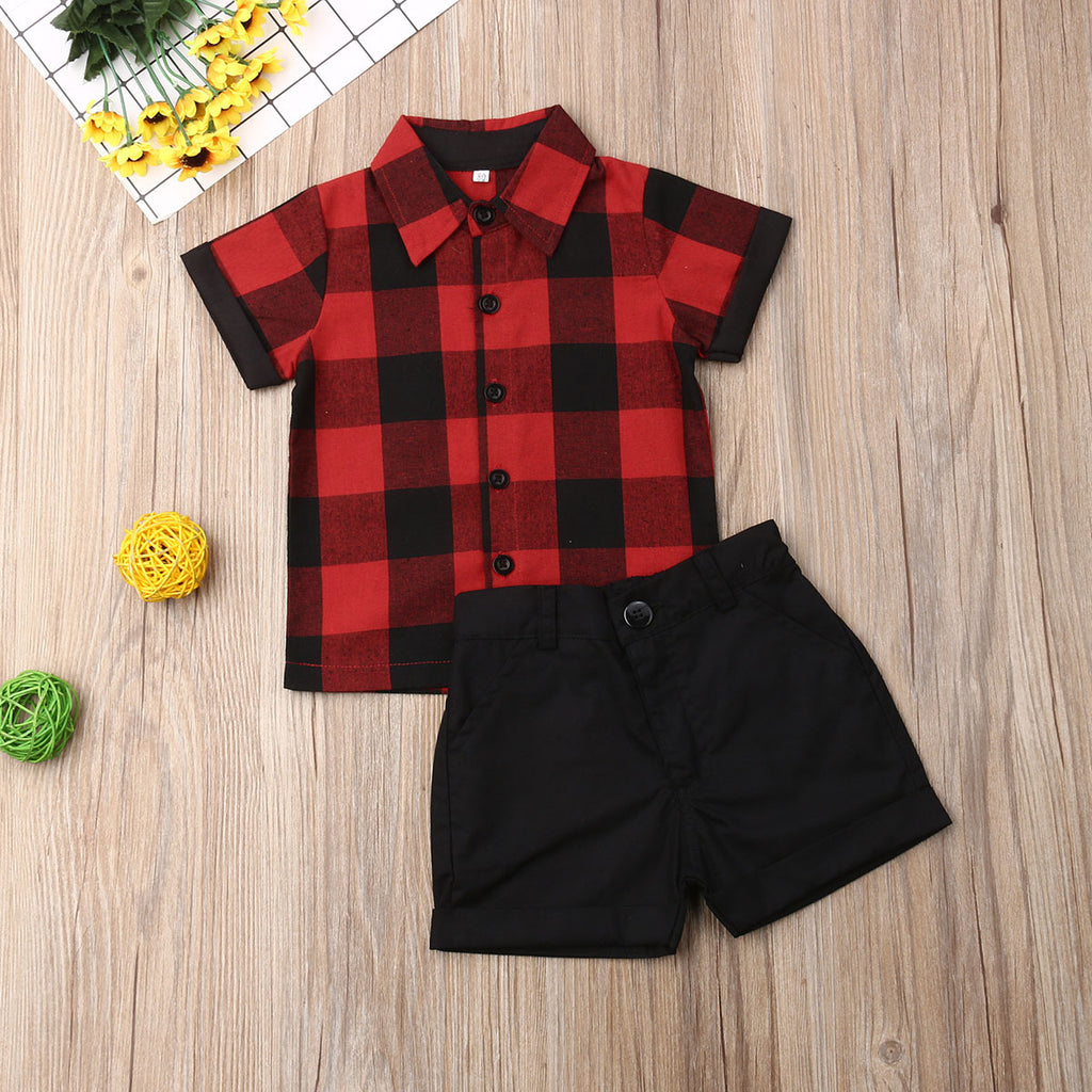 Pudcoco Summer Toddler Baby Boy Clothes Gentleman Plaid Shirt Tops Short Pants 2Pcs Outfits Formal Clothes Summer