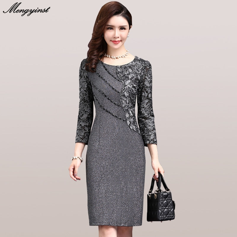 Elegant Long Sleeve Dress For Women 2020 Autumn Vintage Female Sexy Office Lady Ol Work Dresses Bodycon Lace Patchwork Vestidos
