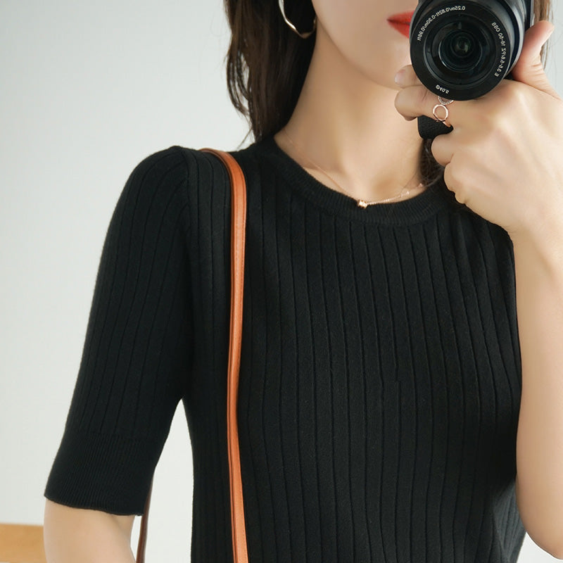 Spring Summer Stripes Knit T-shirt