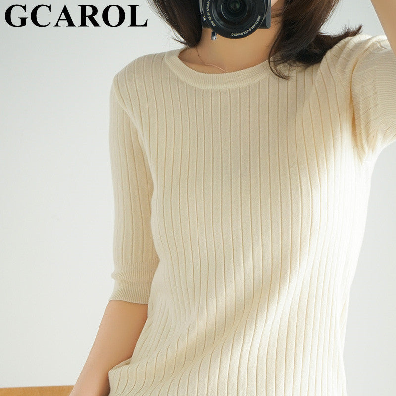 GCAROL 2020 Spring Summer Stripes Knit T-shirt Thin Knitting With Short Sleeve Breathable Basic Tees Breathable Minimalist Top