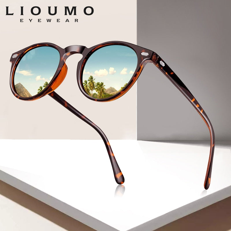 LIOUMO DESIGN Unisex Ultralight TR90 Polarized Sunglasses Men Women Driving Round Pink Shades Vintage Sun Glasses Gafas De Sol