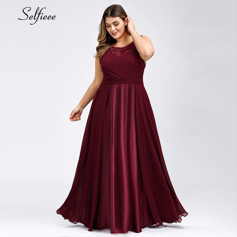 Elegant Lace Women Dress Plus Size A-Line O-Neck Sleeveless Satin Maxi Dress Ladies Sexy Burgundy Party Dress Ropa Mujer 2020