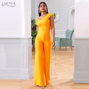 Adyce 2020 New Summer Orange Two Pieces Sets Sexy Spaghetti Strap Short Sleeve Top& Long Pants Women Fashion Club Party Sets