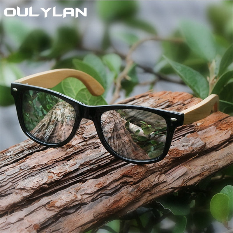 Oulylan Vintage Wooden Leg Sunglasses Men Women Luxury Brand Designer Bamboo Sun Glasses Ladies Retro UV400 Driving Goggles