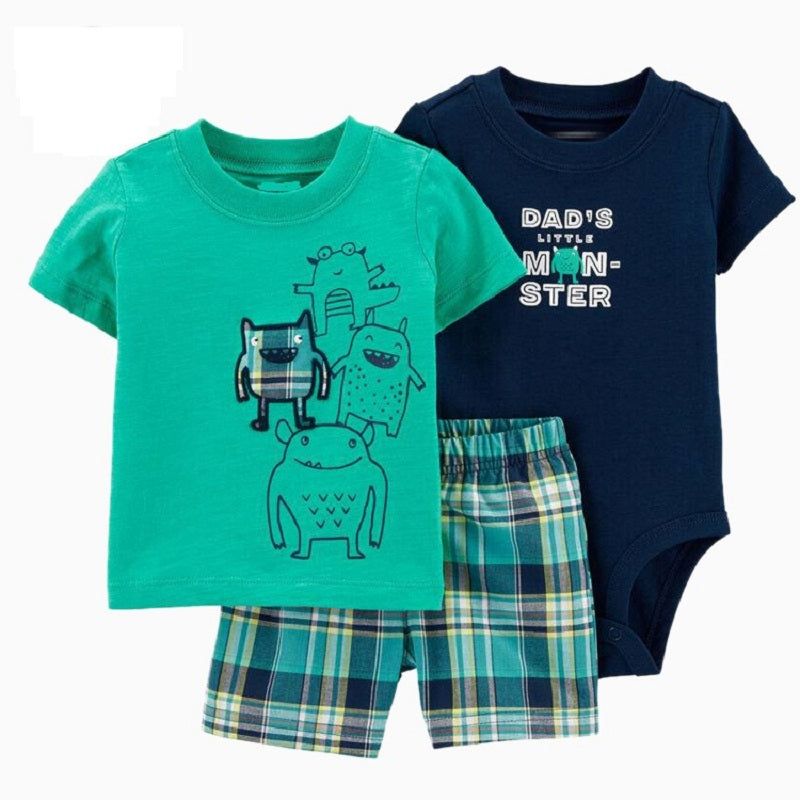 2020 summer baby boy clothes Cartoon monsters print T-shirt+romper+shorts short sleeve tops set 3 pieces outfit babies clothing